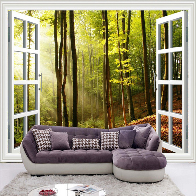 Latest HD Outside The Window Sunshine Forest Photo Mural 3D Stereo Nature Wallpaper  Living Room Cafe Part 39