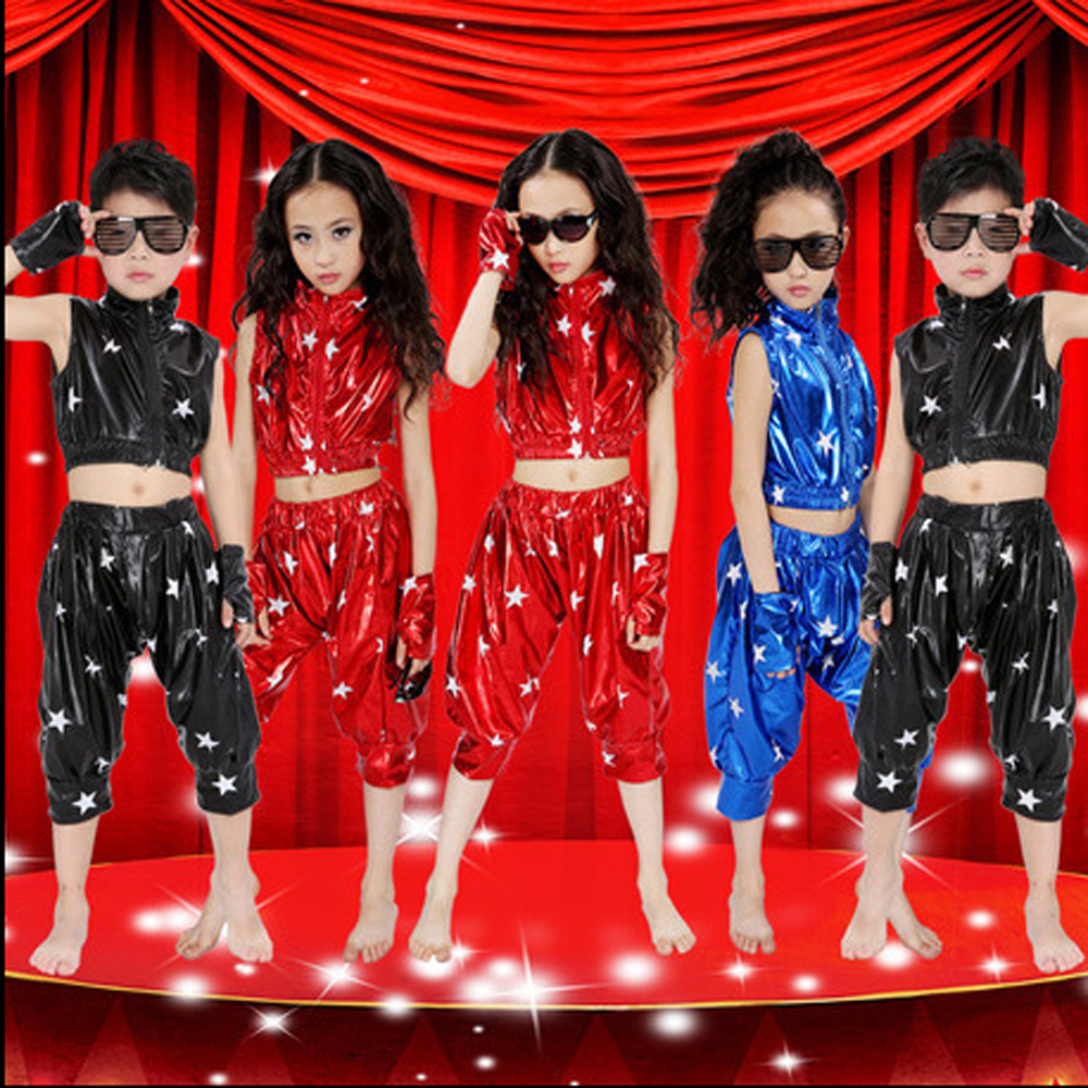 Modern children's hip - hop jazz dance performing clothes boys and girls Five Star patent leather suit for Holiday celebrations