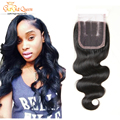 "Brazilian Virgin Hair Lace Closure 4""x4"" Brazilian Body Wave Closure Brazilain Hair Closure Hand Tied Free Parted Lace Closure"