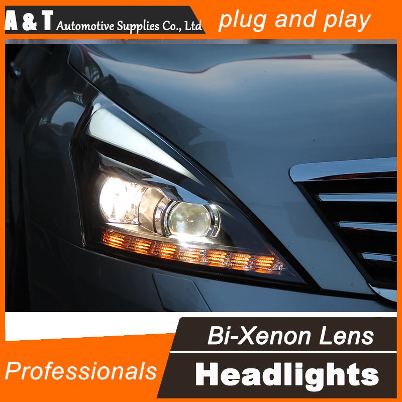 Car Styling for Nissan Teana LED Headlight assembly 2012 Altima Headlight DRL Lens Double Beam H7 with hid kit 2pcs. hireno headlamp for hodna fit jazz 2014 2015 2016 headlight headlight assembly led drl angel lens double beam hid xenon 2pcs