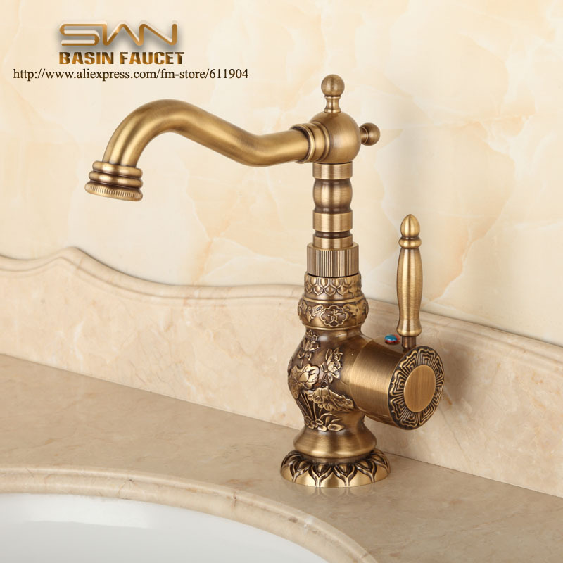 Free Shipping Antique Brass Bathroom Faucet Lavatory
