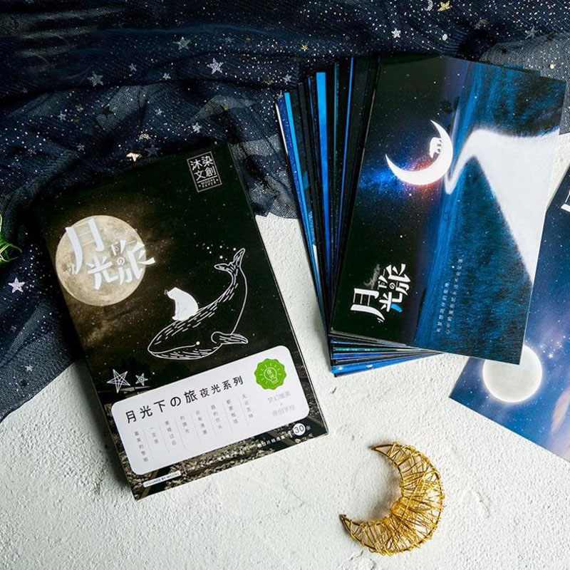 30Sheets/Set Hot Under The Moon Travel Luminous Postcard Greeting Card Message Card Christmas and New Year Gift