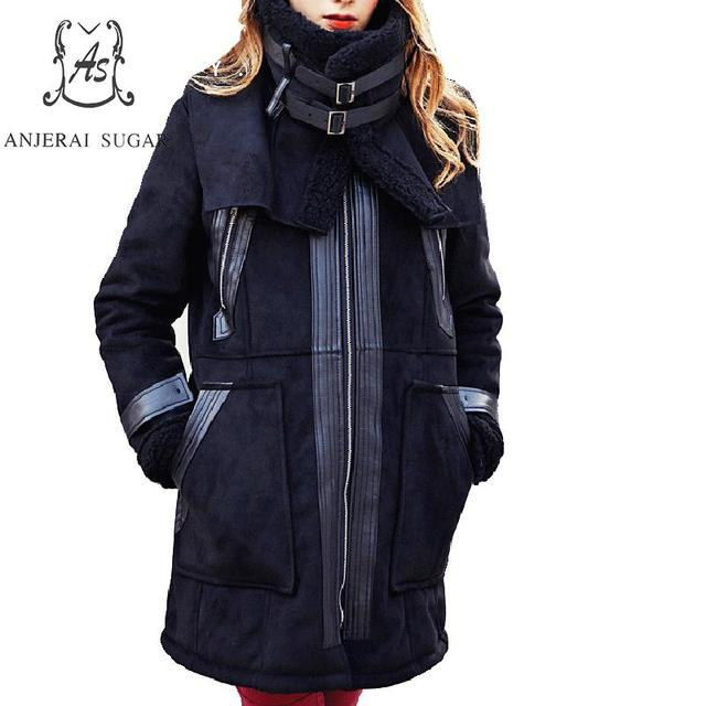 Winter jacket women Kid Suede fur coat black Double collar zipper pocket  long feminino Keep warm Lambs Fur integrated jackets a8d0a3d91