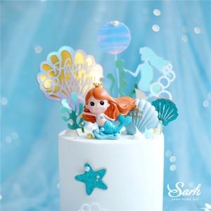 Image 2 - Taç Mermaid dekor balık kuyruğu kabuk lazer gümüş kek Topper mektubu dekorasyon için çocuk doğum günü partisi düğün malzemeleri sevimli hediyeler