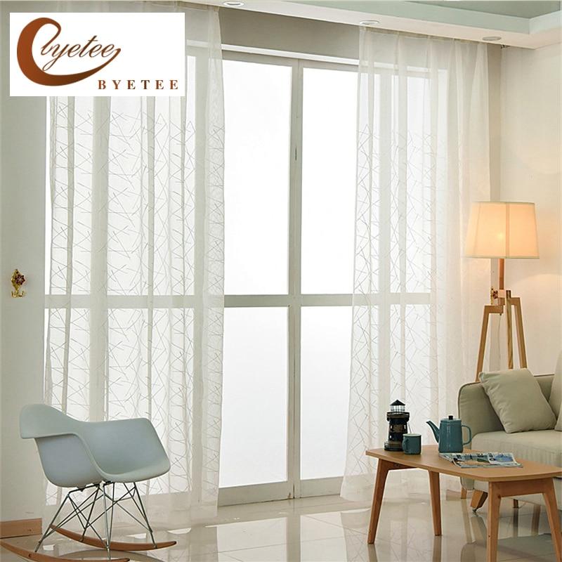 {Byetee} Modernen Gestickten Weiß Voile Benutzerdefinierte Größe Wohnzimmer  Schiere Vorhang Küche Vorhänge Tüll für Schlafzimmer