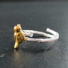 2mm thick tree branch bird 925 solid sterling silver DIY ring settings 16mm diameter adjustable jewelry 1212027