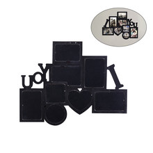 Wall Hanging Picture Photo Frame Decorative Wood I Love You Collage (Black)(China)