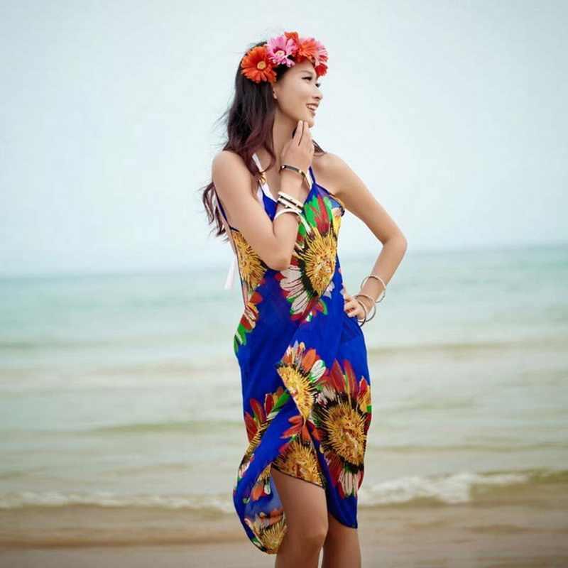 96954a359c25 ... Sexy Beach Dresses Swim Women 2018 White Chiffon Beach Tunic Backless Long  Dress Women Cover Up ...