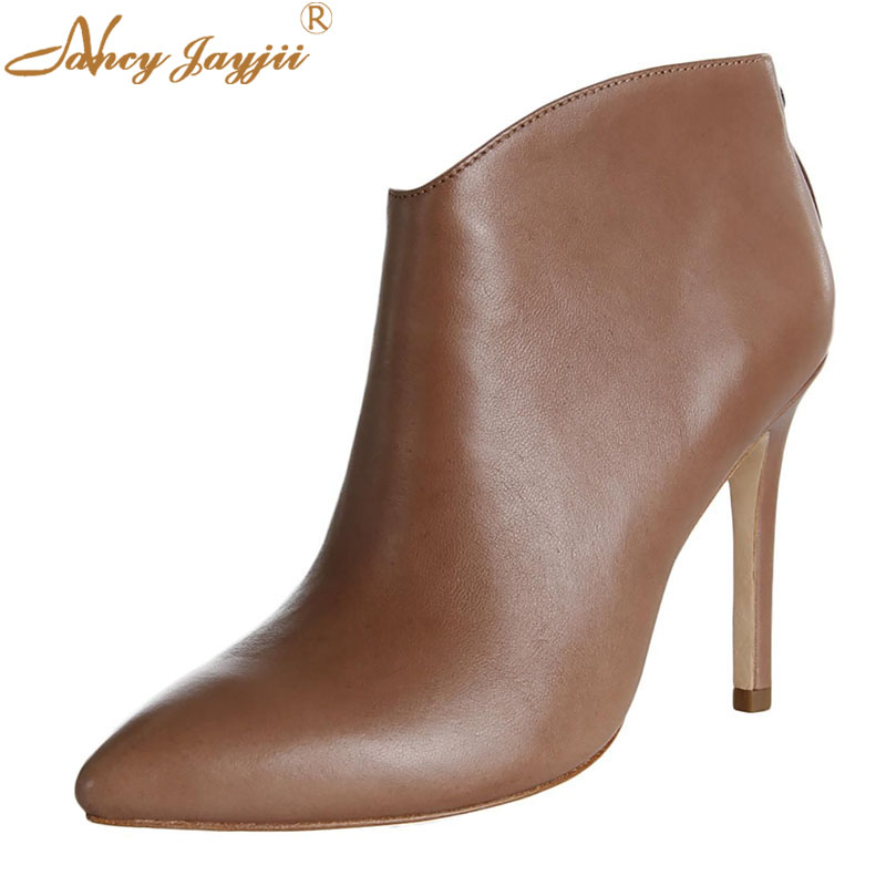 Women Adult Boots Ladies Shoes Ankle Zipper Pointed Toe -8712