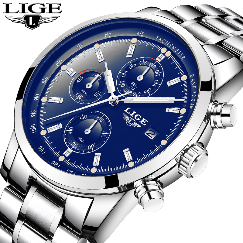 LIGE Watch Men Luxury Brand Fashion Quautz Watches Men's Full Steel Multi-function Military Sport Wristwatch Relogio Masculino ik brand fashion men watches silver full stainless steel automatic self wind watch men multi function clock relogio masculino