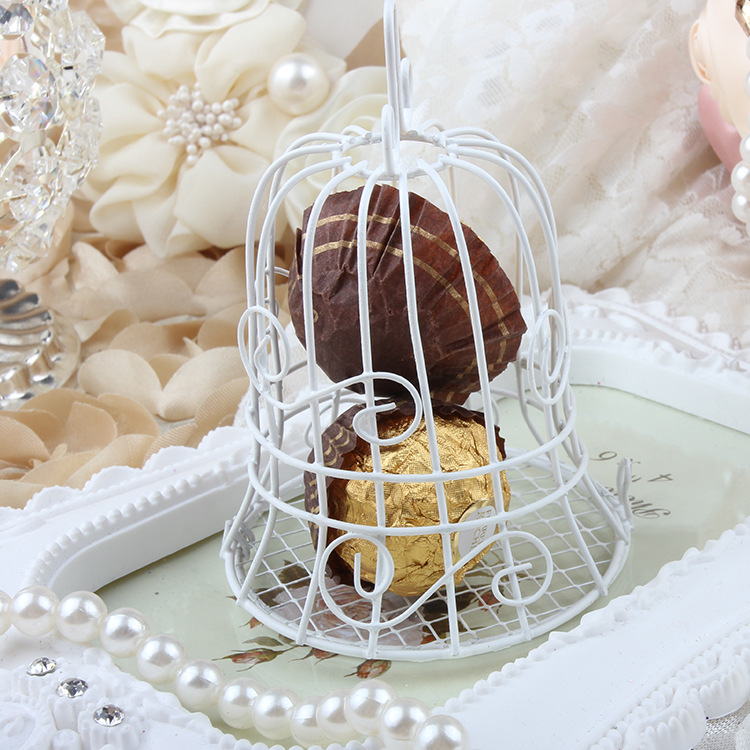 European romantic Bridal Wedding and party creative personality iron white candy box iron bell birdcage gift box candy boxes (5)