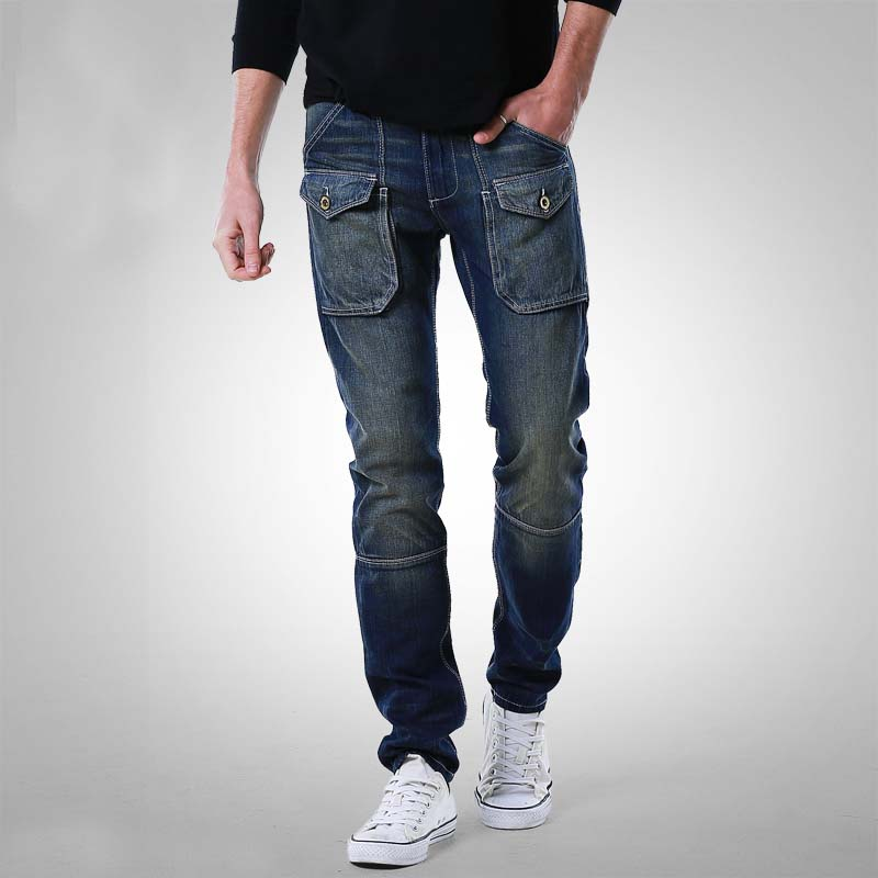 New Fashion Cargo Pants Ripped   Jeans   for Men Denim Pants with Pockets Cotton Straight Loose Baggy Casual Trouses Male Clothes