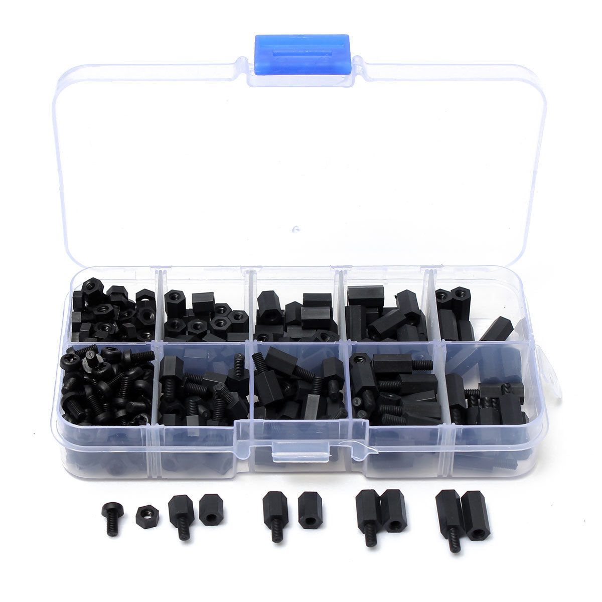 CNIM Hot 300pcs M3 Nylon Black M-F Hex Spacers Screw Nut Assortment Kit Stand-off Set 160pcs m3 nylon black m f hex spacers screw nut assortment kit stand off set box