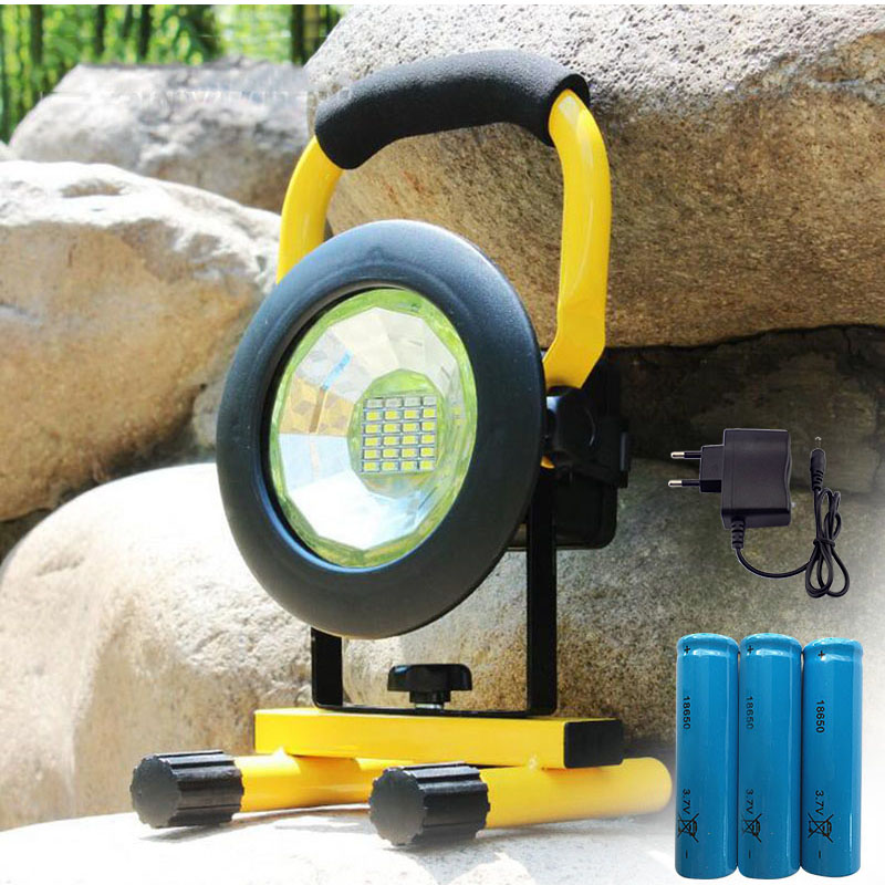 24 Led LED floodlight rechargeable Floodlight Red/White/Blue Light outdoor Emergency flashlight + 18650 With AC charger