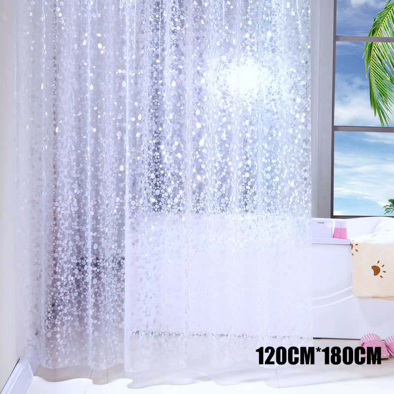 2019 Fashion Semi-Transparent Waterproof Shower Curtain Cobblestone Pattern Shower Curtains for Bathroom Home Hotel