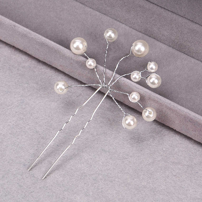 1PC אופנה כלה שיער אביזרי פרל חרוזים קריסטל סיכת ראש פרח נשים חתונת שיער סיכות תכשיטי אבזרים