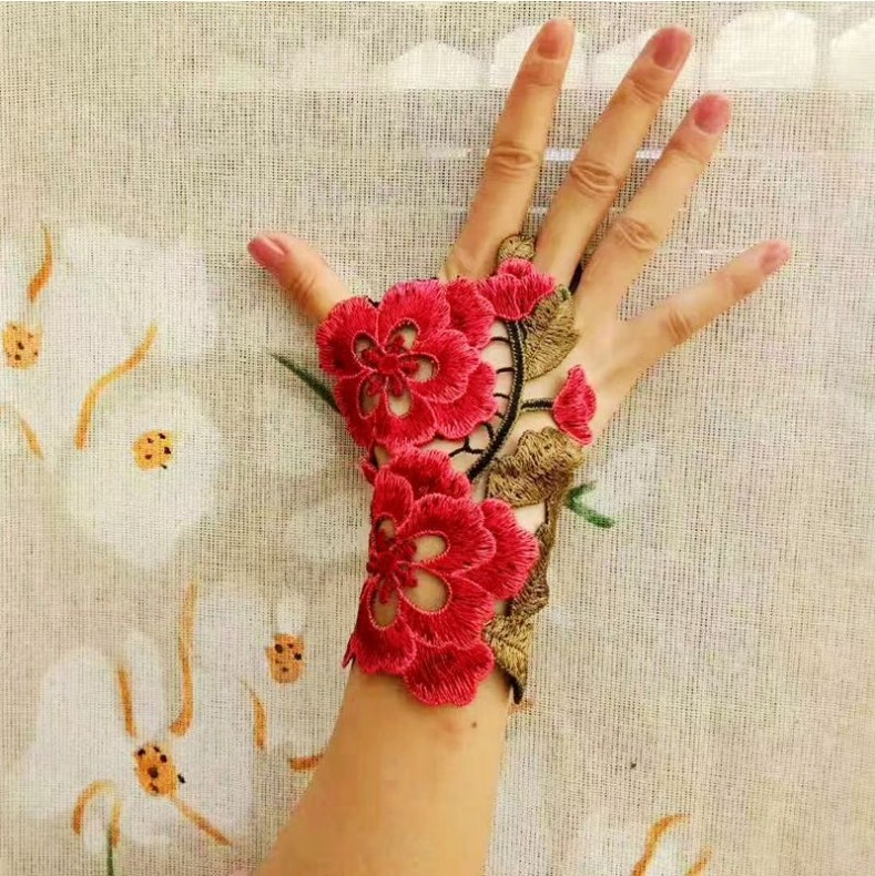 Ethnic style embroidery wristband stage performance bracelet wedding decoration half finger gloves