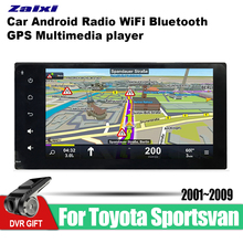 ZaiXi Android Car 2 din multimedia GPS Navigation For Toyota Sportsvan 2001~2009 vedio stereo Radio audio wifi video map video цена
