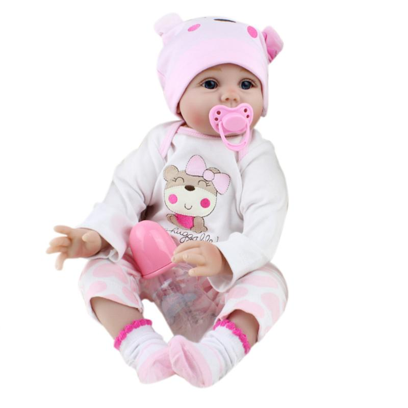 55cm Simulation Reborn Baby Doll Soft Touch Silicone Lifelike Baby Doll with Cloth Appease Accompany Toy for Infant Girl Gifts ins hot swan soft toy cute ballerina moon cushion pink home sofa decoration pillow baby appease music doll kidstoy gift for girl
