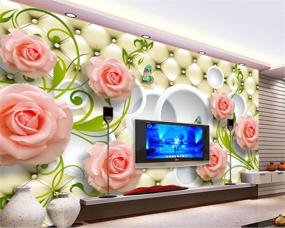 Personalizado de alta qualidade decorativo mural papel parede elegante caso macio rosa foto mural 3d papel beibehang