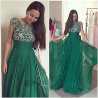 2017 New Arrival Emerald Green Long Prom Dresses Women Formal Prom Gowns Beaded Sequin Chiffon Vestido
