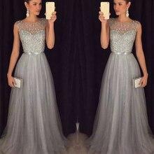 Women Formal Wedding Bridesmaid Long Floor-Length O-Neck Dress Sleeveless Maxi Empi Party Mesh Dresses