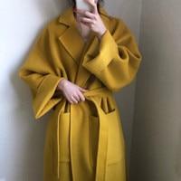 Women yellow Elegant Winter wool Overcoat Long Bandage Woolen Coat Cardigan Loose Plus Size outwear with pocket turn down collar