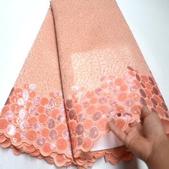 Organza Lace Fabrics French Mesh Lace Peach color Sequins Lace Fabrics African Nigerian Lace for Wedding Party RG956