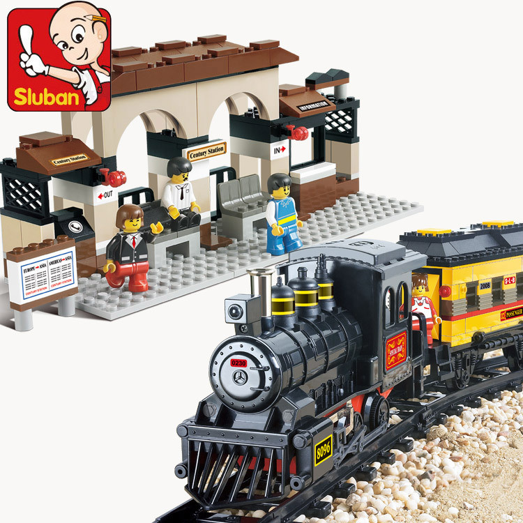 Sluban-Electric-Train-LED-Train-Station-Bricks-Minifigure-Building-Block-Sets-Model-Toys-Compatible-With-Legeod