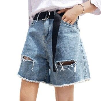 Women High Waist Denim Shorts 2019 New Large Size Summer Slim Denim Shorts Loose Hole Large Size Female Casual Hot Shorts TTT110 фото