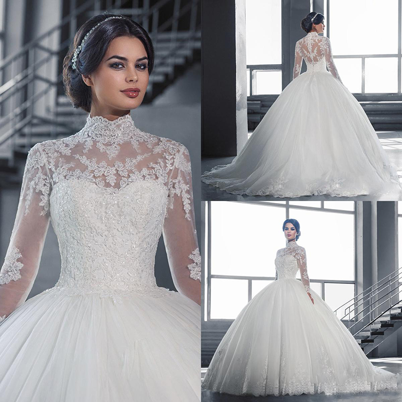 Elegant High Collar Long Sleeves Ball Gowns Wedding Dresses Muslim Lace Appliques Wedding Gowns Bridal Dresses Custom Made