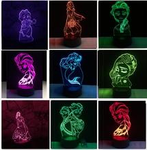 3D Elegant Fairy Tale Mermaid Princess Snow illusion LED Baby Night Light RGB Lighting Bedroom Lampda Home Decor Girls Xmas Gift