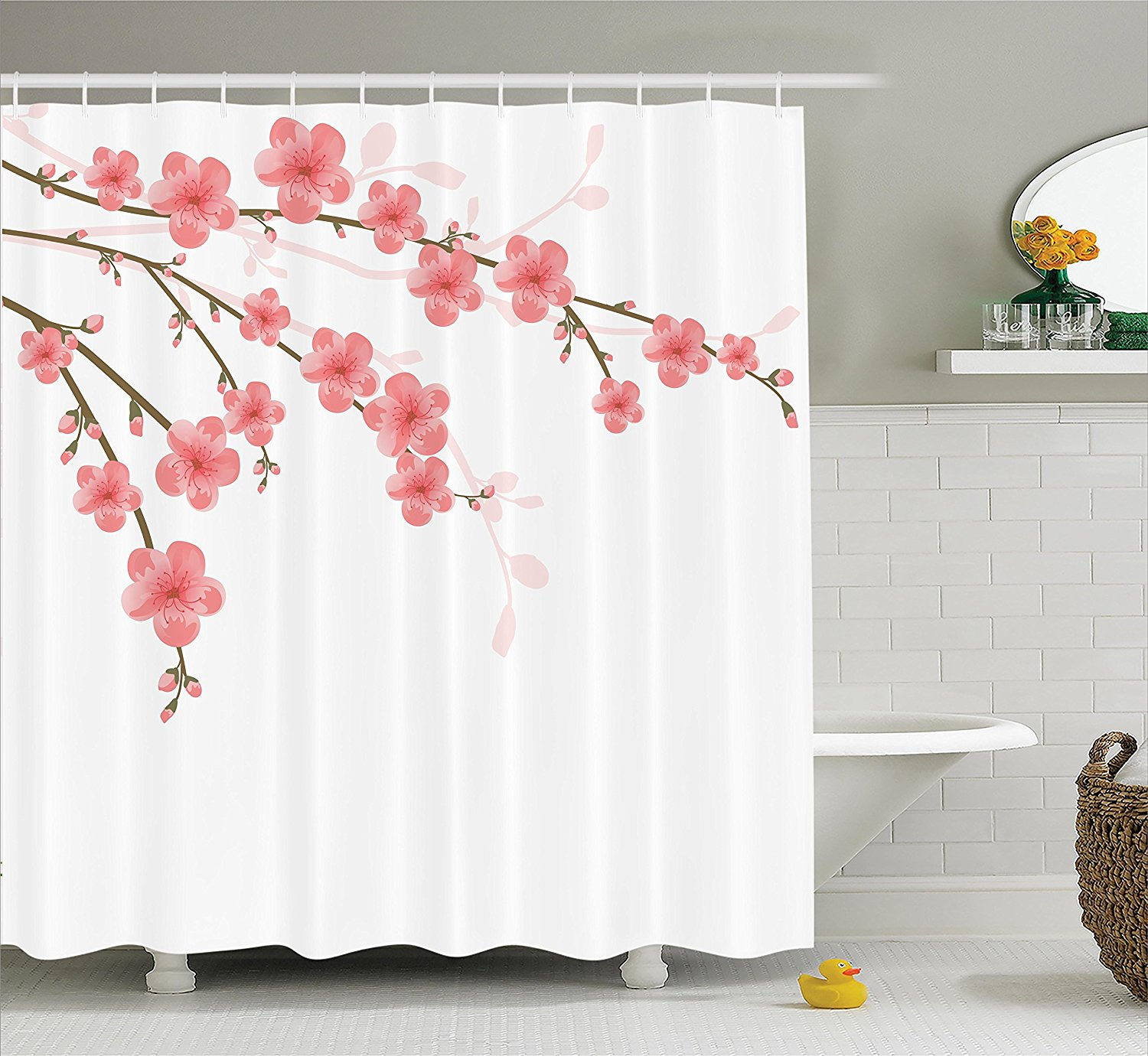 WARM TOUR Cherry Blossom Fashion Shower Curtain Polyester Curtain  Hotel/Bathroom With Hooks Ring72u0027