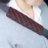 2 uds. De Correa Universal para cinturón de seguridad de coche, almohadillas suaves para los hombros, funda roja de piel sintética, cojín, arnés, Protector