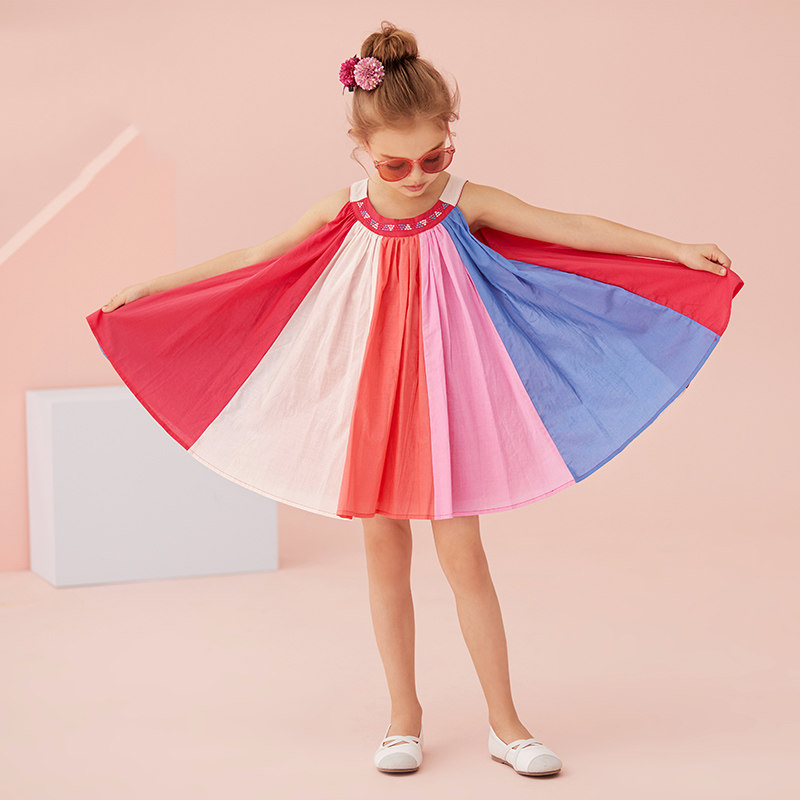 2017 Baby Girls Cute Rainbow Dress Colorful Stripes Fluorescence Color Little Princess Summer Clothes for Age 2345678 Years Old the little old lady in saint tropez