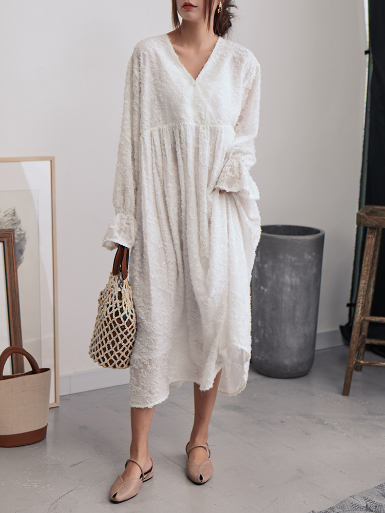 c93931e4ddb4d White Feathers Dress Women 2019 New V Neck Long Sleeve Oversize Summer  Dresses Loose Pullover Korean Fashion Clothing