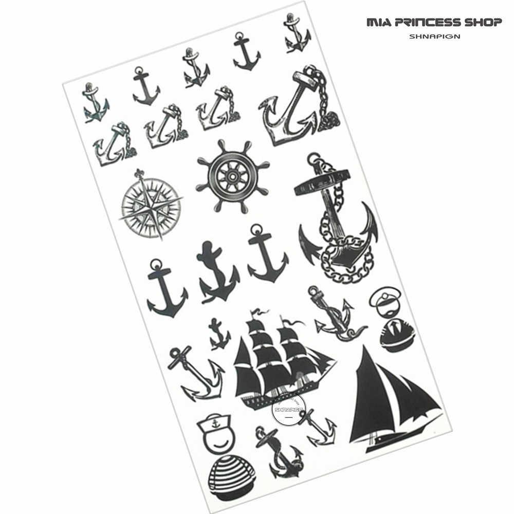SHNAPIGN Marine Pirate Anchor ชั่วคราว TATTOO Body Art แขนแฟลช TATTOO สติกเกอร์ 17*10 ซม.กันน้ำ Henna ไม่เจ็บปวดสติกเกอร์