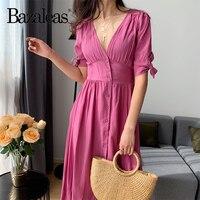 Bazaleas French Cotton Pink women vestidos Front Center Buttons Women Dresses Holiday Long Dress Casual midi dress drop shipping
