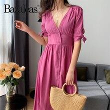 Bazaleas de algodón francés de color rosa vestidos de mujer botones centro delantero vestidos de mujer vestido largo para vacaciones Casual vestido midi Envío Directo