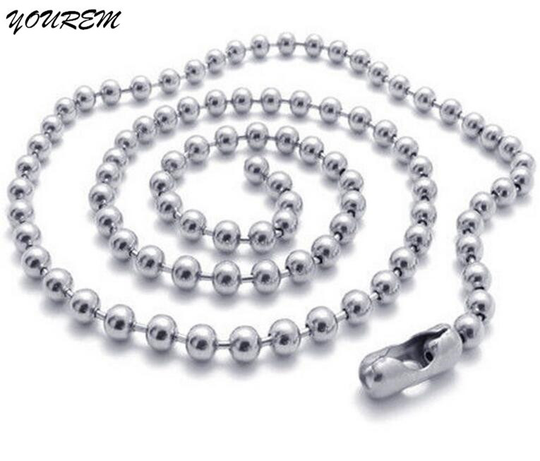 YOUREM One piece 4 sizes 50 60 70 80cm Jewelry Findings Components 316L stainless steel beads chains coming good quality fj060