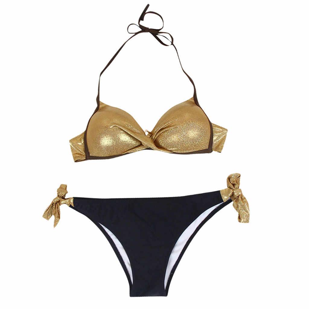 Женский бикини 2019, золотой, серебряный, однотонный, новый, расшитый блестками, купальник, пляжный, пуш-ап, комплект бикини, бразильский купальник с низкой посадкой Z0529