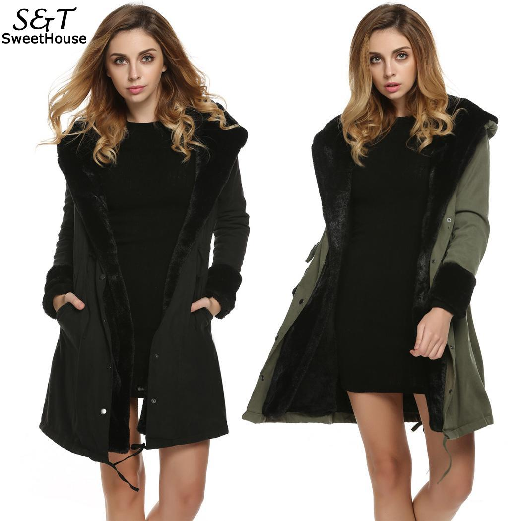 Women Winter Coats Stylish Hooded Winter Warm Thick Faux Fur Long Coat   Parka   Outerwear Overcoat Jacket