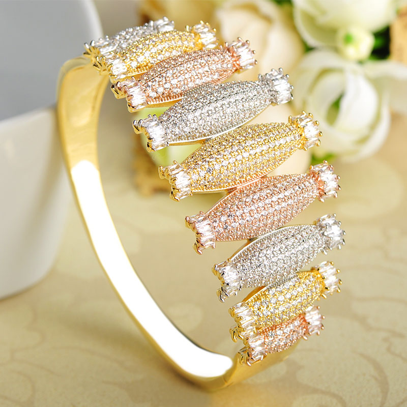 Dazz Luxury Three Tones Colors Bowling Shape Bangle Ring Set Rhinestones Wide Copper Jewelry Sets For Women Wedding Party Bijoux-in Jewelry Sets from Jewelry & Accessories    3