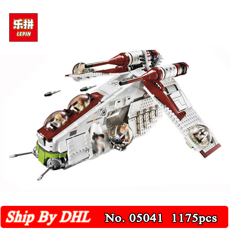 DHL Shipping Lepin 05041 Star Genuine War Series The The Republic Gunship Model Building Kits Blocks 1175Pcs Bricks Toy 75021 dhl lepin 05055 star series military war the rogue one usc vader tie advanced fighter compatible 10175 building bricks block toy