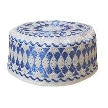 อิสลาม Mens หมวกสีฟ้ามุสลิม Kippah Yarmulke Bonnet อินเดียหมวก Kippot ชาวยิว Boina สานรูปแบบสวดมนต์หมวกปากีสถาน Yarmulke