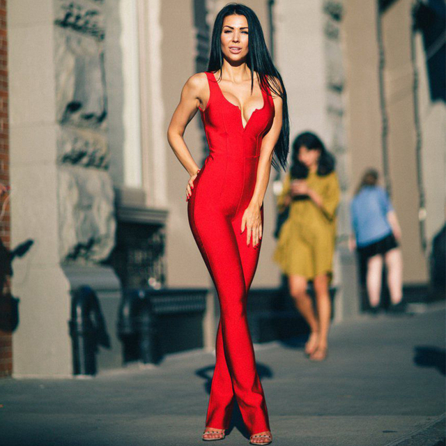 2018 New Summer Bandage Jumpsuit Women Celebrity Party Sleeveless V-Neck  Runway Sexy Backless Night Out Bodysuit Women Wholesale 22d10d9d2002