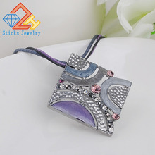(1 pieces/lot) Multicolor square Alloy enamel pendant necklace Factory direct, free shipping