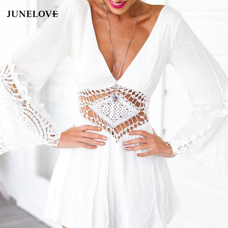 JuneLove 2018 summer hollow out women jumpsuit backless sexy ladies rompers v-neck female sexy playsuit