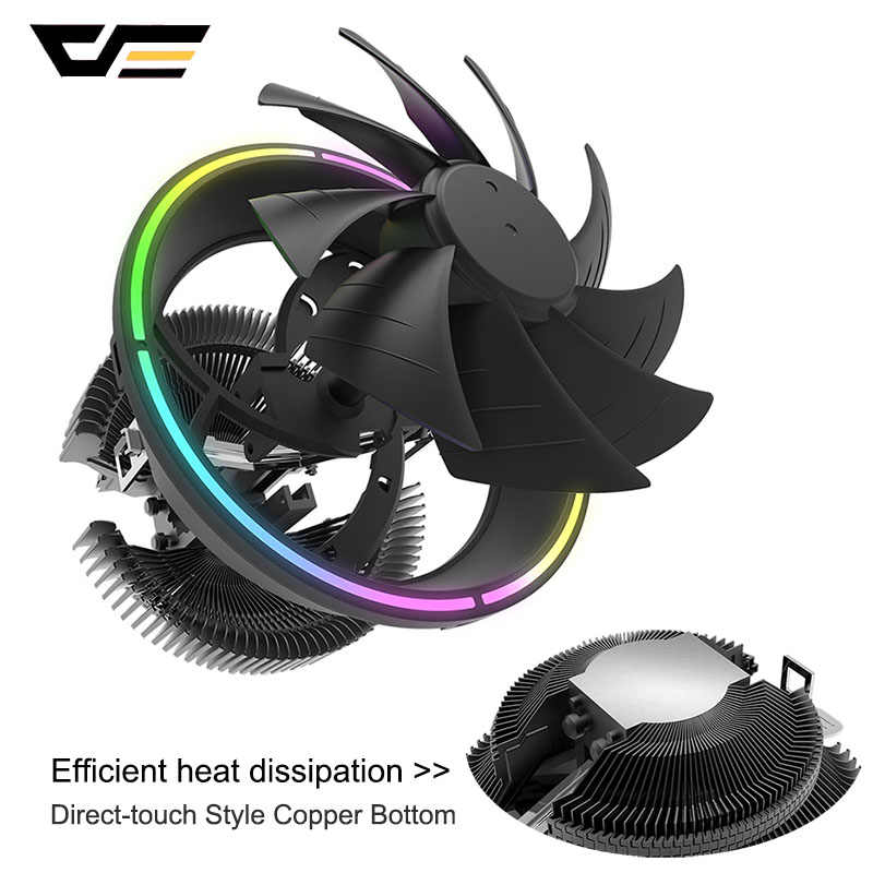 Darkflash CPU Cooler RGB Fan 125 Mm 3Pin Sync Komputer Cpu Wastafel Panas Diam Intel LGA115X/775/1365/AM3/AM4 PC CPU Pendingin Cooler