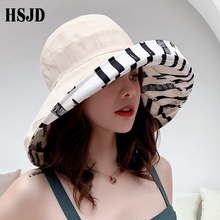 Zebra Striped Sun Hat Summer Women Double sided Foldable Cotton Linen Sun Beach Hats Big Wide Brim Sunscreen Female Bucket hat